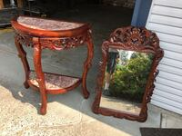"""Solid Mahogany Round Table and Mirror       Table 36"""" tall by 33"""" wide Mirror is 39"""" x 24"""" Real old marble tops. Surrey, V4N"""