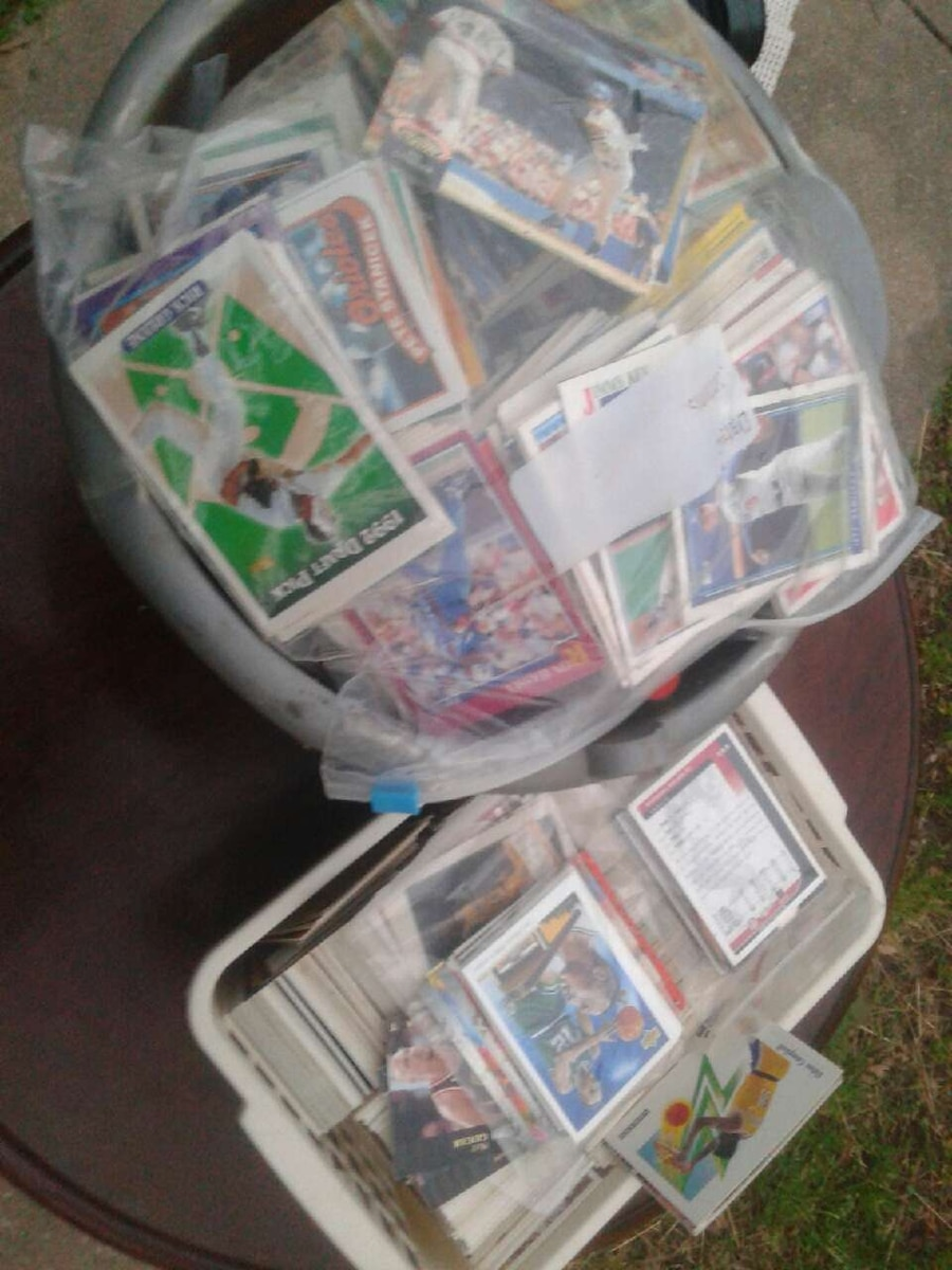 Two tubs of old baseball cards