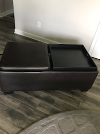 Brown leather padded ottoman Corcoran, 55340