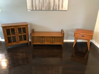 Matching storage cabinet storage bench and end table all brand new Portland, 97220