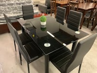 Brand new in box 7pc black tempered glass dining set warehouse sale  多伦多, M1V 1S4