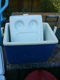 blue and white plastic chest cooler