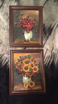 Two red, yellow, and purple petaled flowers painting with frame Winnipeg, R2Y 1W8