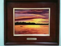 sea and trees during sunset painting and brown wooden frame Hollywood, 33019