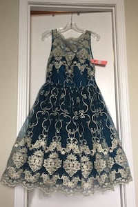 Size 10 turquoise blue & gold fancy cocktail dress Arlington, 22201