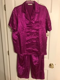 NWT Lord & Taylor Purple/Violet Satin 2 Piece Pajama Pants Set Size L Freehold, 07728