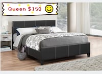 Brand new queen black faux leather platform bed on sale  多伦多, M1V 1S4