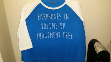 NEW Headphones In - Volume Up - Judgement Free long sleeve tshirt