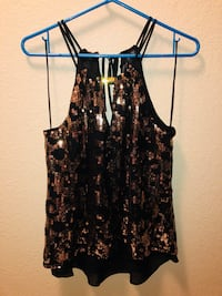 GUESS Black and Gold Sequins Blouse ! Size medium  Las Vegas, 89121