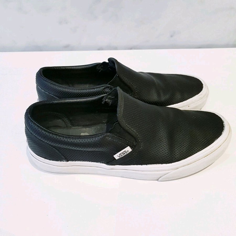 Vans Asher Women's Black Leather Slip-on Shoes - Size 8.5
