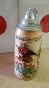 Anheuser Busch Beer Stein with Pewter Lid