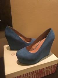 blue suede wedge shoes with box