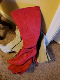 Grey and red knee high suede boots  Baltimore, 21206