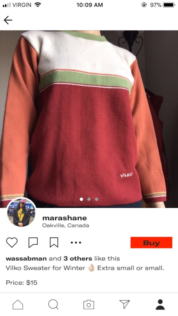 white, green, and red striped sweater screeshot