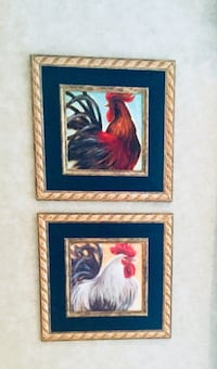 Two brown wooden framed painting of Roosters! Rockville, 20850