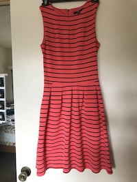 Coral and black striped sleeveless pleated mini dress