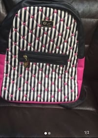 Luv Betsey Johnson Quilted Hearts Stripes Backpack