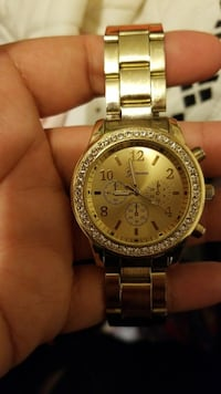 round gold Michael Kors chronograph watch with link bracelet Calexico, 92231