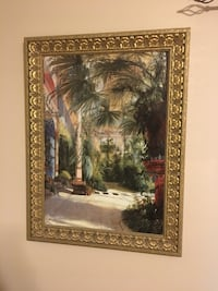 brown framed palm tree painting