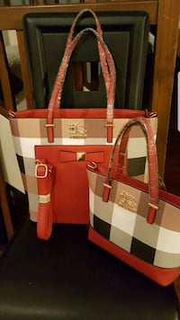 white and red leather tote bag Falls Church, 22041
