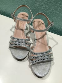 Pair of silver open-toe ankle strap pumps San Antonio, 78237