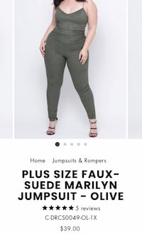 Plus size faux suede Marilyn jumpsuit in olive from CurvySense—NWT size 1x Toronto, M6C 3Y7