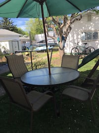 Patio set with 3 chairs only and umbrella and vase  Edmonton, T5L 0G1