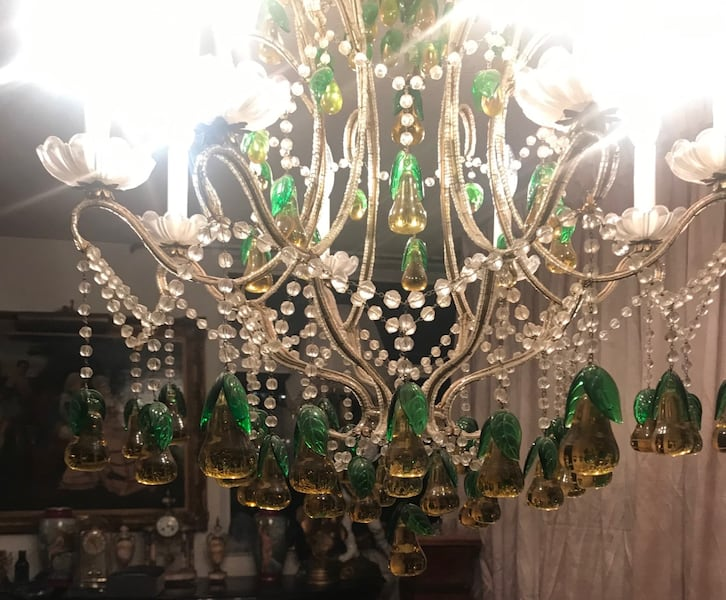 Large antique Italian beaded chandelier with glass pears be4a2f97-f2a4-4231-a560-962dac48e9b7