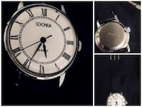 round silver-colored analog watch with black leather strap Wilsonville, 97070