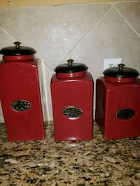 three red ceramic canisters with lids Houston, 77064