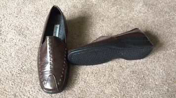 Brand new brown leather slip ons