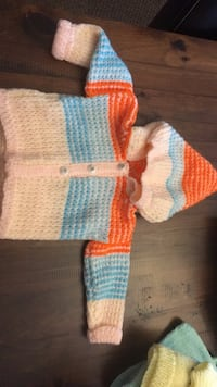 boy's white, orange, and blue knit button-up hoodie Innisfil, L9S 1G4