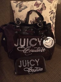 black leather Juicy Couture tote bag and long wallet