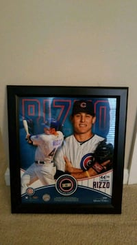 Cubs Anthony Rizzo Poster with Game Used Ball COA Falls Church