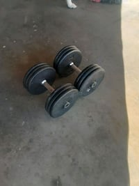 DUMBELLS. 60 POUNDS  EACH. TOTAL WEIGHT IS  120 POUNDS. $ 100.00 O.B.O