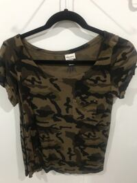 black and gray camouflage scoop-neck shirt Surrey
