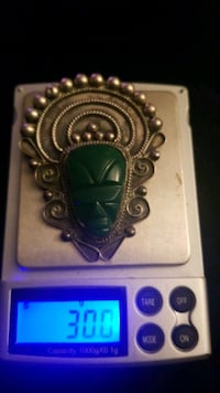 Vintage Mexico sterling silver carved exquisite blue green onyx jade Hyattsville, 20784