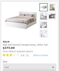 Full Bed with mattress and 2 storage boxes at the bottom Burlington, L7S