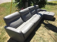 Grey leather power recliner sofa