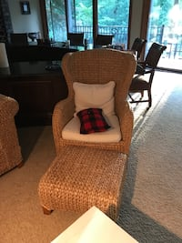 brown wicker armchair with ottoman Southfield, 48076