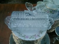 Bohemian Lead Crystal Butterfly Butter Dish Washington
