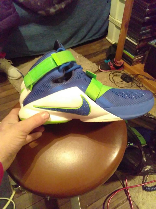 fe266d9ae373 Used blue-green-and-white Nike high top basketball shoes for sale in  Louisville - letgo