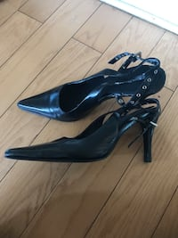 pair of black leather pointed-toe heeled shoes Toronto, M6E 2S2