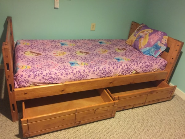 used for sale twin bed wood pine with memory foam twin mattress all in good shape very clean no. Black Bedroom Furniture Sets. Home Design Ideas