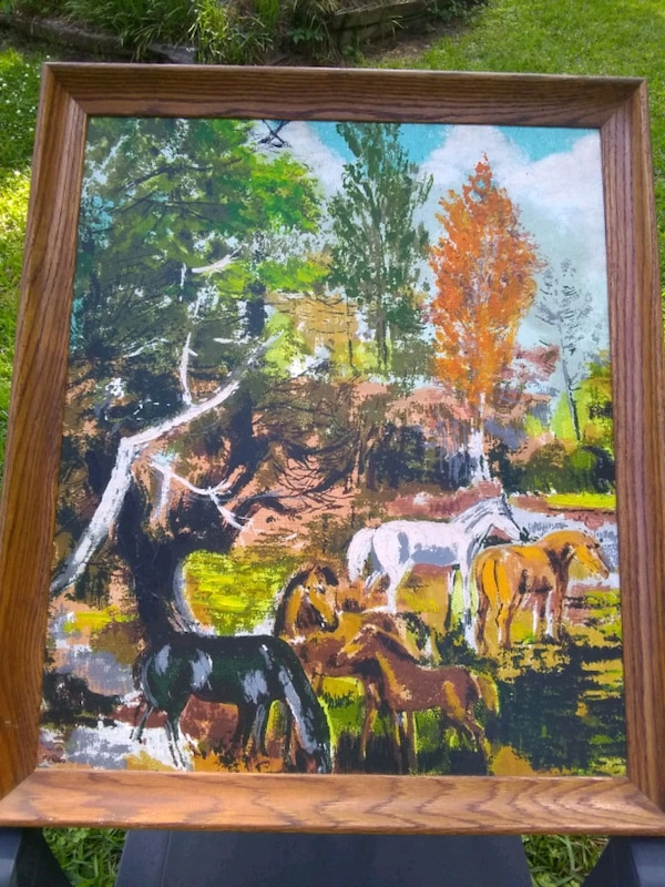 Painting of Five Horses in Field 2b9e56ba-9ac4-4971-9b3c-919d69adc493