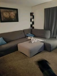 gray fabric sectional sofa with throw pillows Hoover
