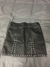 Studded small faux leather skirt  New York, 10002
