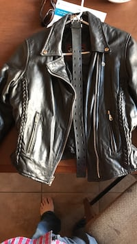 Gray leather zip-up jacket woman's