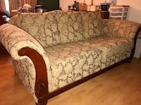 Bronze/gold floral fabric sofa (couch)
