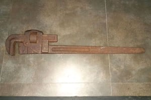 """Antique Trimo Pipe wrench early 1900s 24"""""""